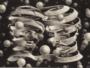Deux personnages attachés illustrent La théorie de l'attachement, noir et blanc